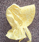 girls sunbonnet -sunshine yellow, tiny white print-Rawhide Gifts and Gallery