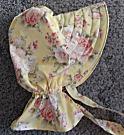 sun bonnets for Ladies Gardening, Easter and Out door sunbonnet; Butter cream Yellow w/large pastel roses-Rawhide Gifts and Gallery