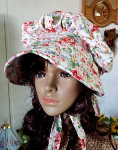 rose patterned bonnet from Rawhidestudios.com/sunbonnets