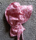 girls sunbonnets Dusty Rose-Pink Sun bonnet with dogwood-like darker pink flowers-Rawhide Gifts and Gallery