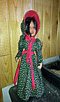 18 inch American Doll Dress Christmas Green with red accents