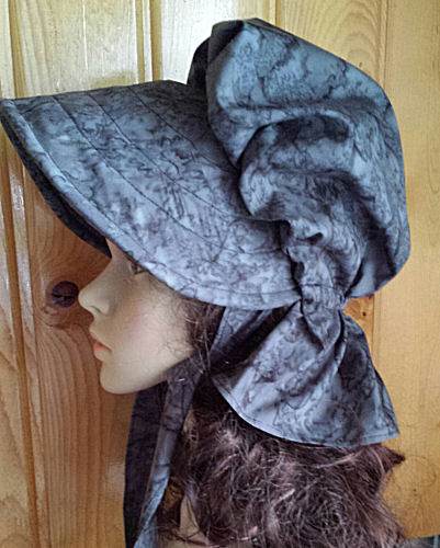 Faux watered silk look sunbonnet of charcoal grays