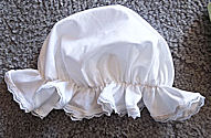 Period Correct Aprons and White mobcap-lined-cotton- gathered with approx 2 inch ruffle and lace-Rawhide Gifts and Gallery