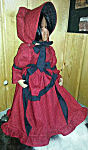 18 inch American Doll Dress, red with ruffles and black accents of sash and bonnet ties
