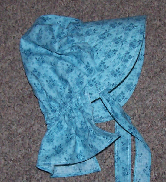 Period Correct Bonnet-robins egg blue with cross hatched bkgrd and darker blue roses