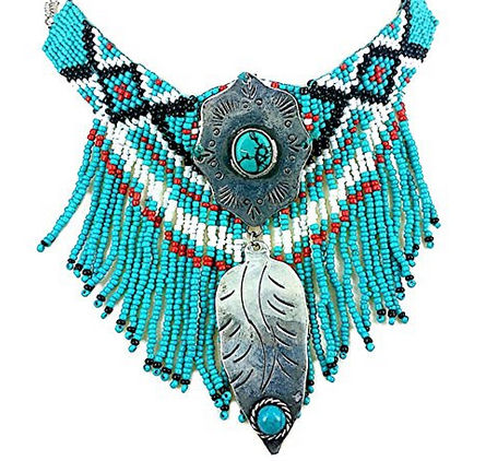 vintage look-native-indian-beaded-turquoise-necklace