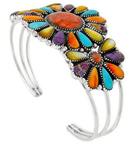 Southwest Style Genuine Turquoise Sterling Silver Bracelet