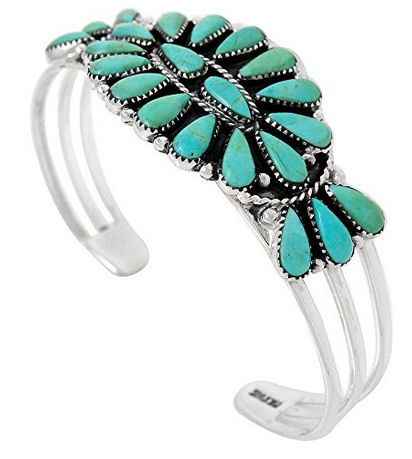 Sterling Silver Bracelet with Genuine Turquoise Southwest Style Jewelry