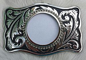 Belt Buckle Blanks, Rectangular silvertone buckle