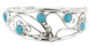 Silver and Turquoise Silver Cuff Filagree Bracelet