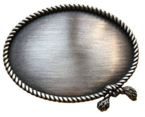 Decorative Rope Trim on an Oval Silver Toned Buckle Blank
