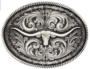 Western Style oval buckle with longer horn and decorative carving