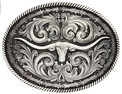 Western Style Carved Belt Buckle with a long horn and barbed wire trim
