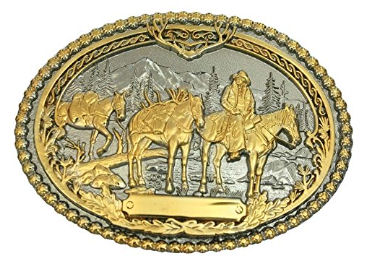 Western Style Betl Buckle with Carved Pack Horse Design