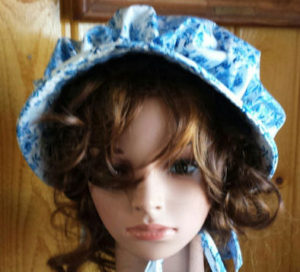 7 Fun Bonnet Facts-china-blue-flowered adult ladies sunbonnet