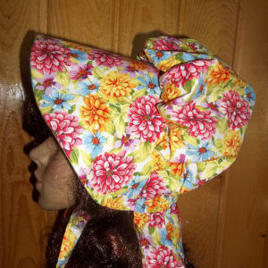 sun bonnets for ladies Period Correct Bonnet in tan with tiny, chocolate brown print from Rawhide Gifts and Gallery