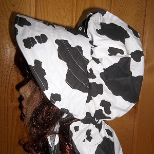sun bonnets for Ladies Gardening, Easter and Out door sunbonnet; Cow Hide Print-Rawhide Gifts and Gallery