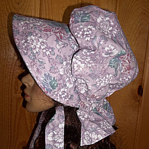 ladies womens gathered sunbonnet in multi lavender hues