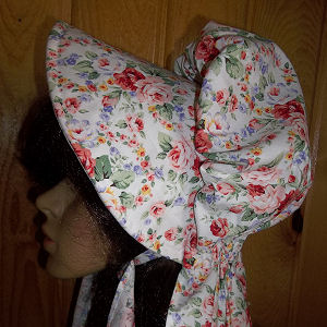 sun bonnets for Ladies Gardening, Easter and Out door sunbonnet; Cheerful, colorful, rose clusters-Rawhide Gifts and Gallery