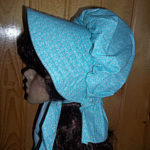 Ladies womens gathered sunbonnet, turquoise blue with tiny dots