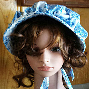 sun bonnets for ladies-Delft Blue Bonnet; Large Flowers from Rawhide Gifts and Gallery