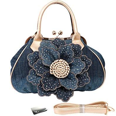 Denim floral clutch purse