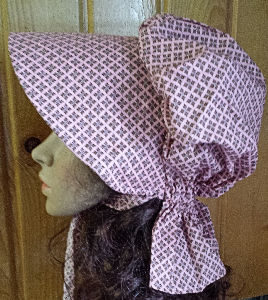 Period Correct Rose pink bonnet with small chocolate diamond pattern