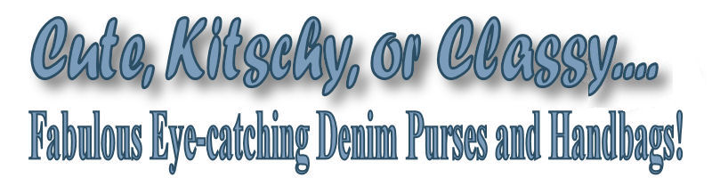 Denim purses, hand bags and clutches