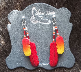 Silver Hawk Carved Bone Feather Cardinal and Western Tanager Sterling Silver Earrings
