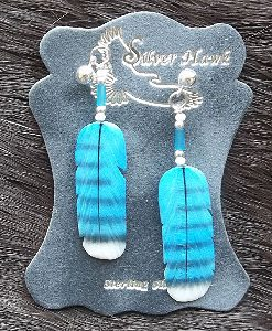 Carved Feather Blue Jay Bon