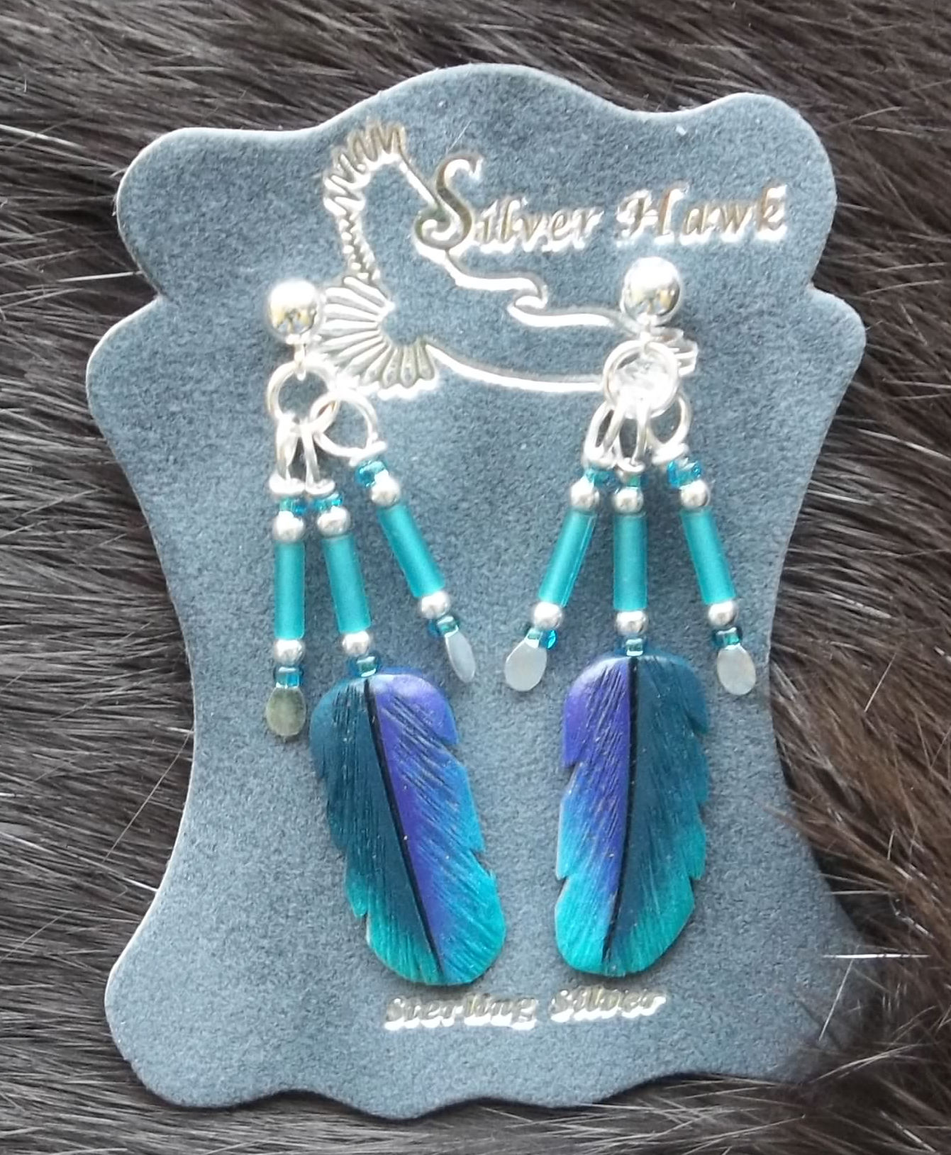 Silver Hawk Carved Bone Feather Earrings