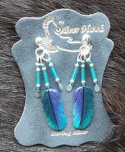 Pretty Violet Tailed Carved Bone Feather Earrings with hummingbird