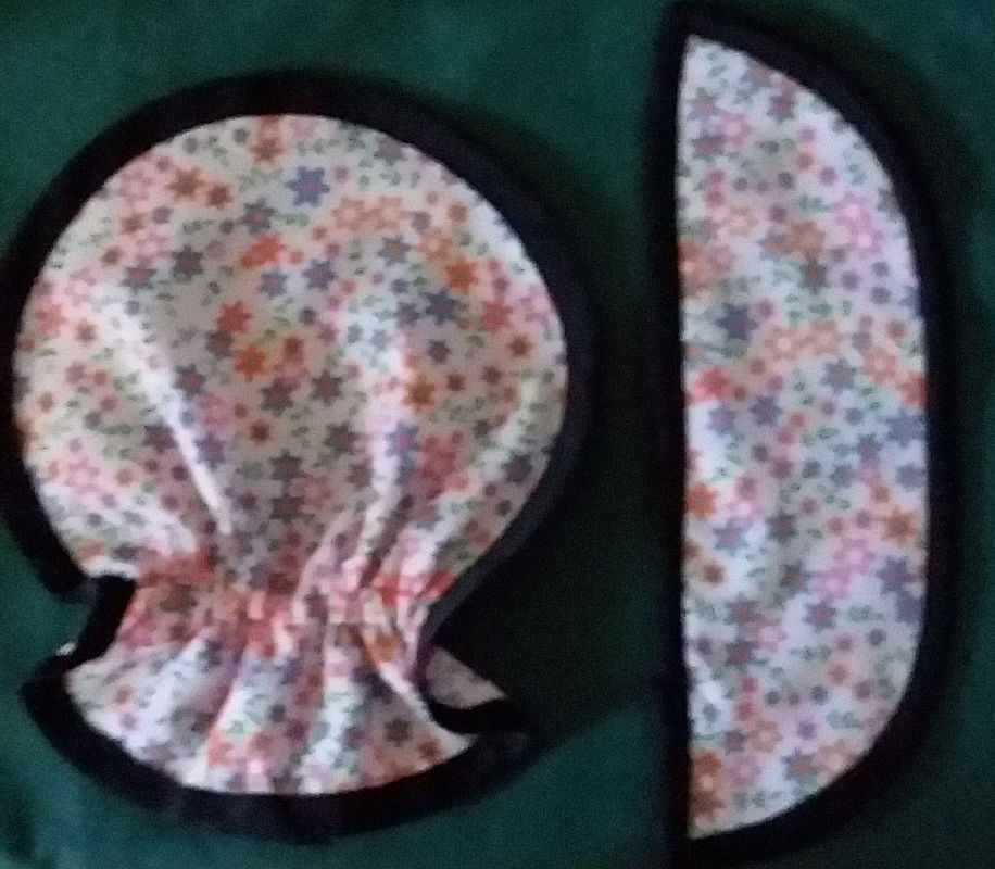 Binding around baby bonnet brim and cap