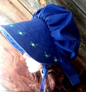 royal blue embroidered sunbonnet