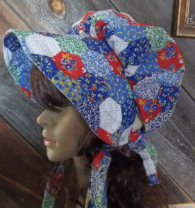 Cute and fun patchwork bonnet for gardening enthusiats