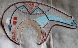 Zuni Bear Tan Turquoise Denim Jacket Applique Patch